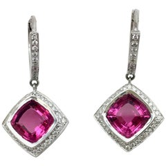 Rubellite and Diamond Drop Earrings in 18 Karat White Gold