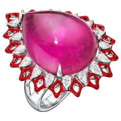 Rubellite Cabochon and Diamonds with Enamel 18kt White Gold Ring