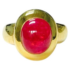 Rubellite Cabochon Engagement Ring in 18K Yellow Gold