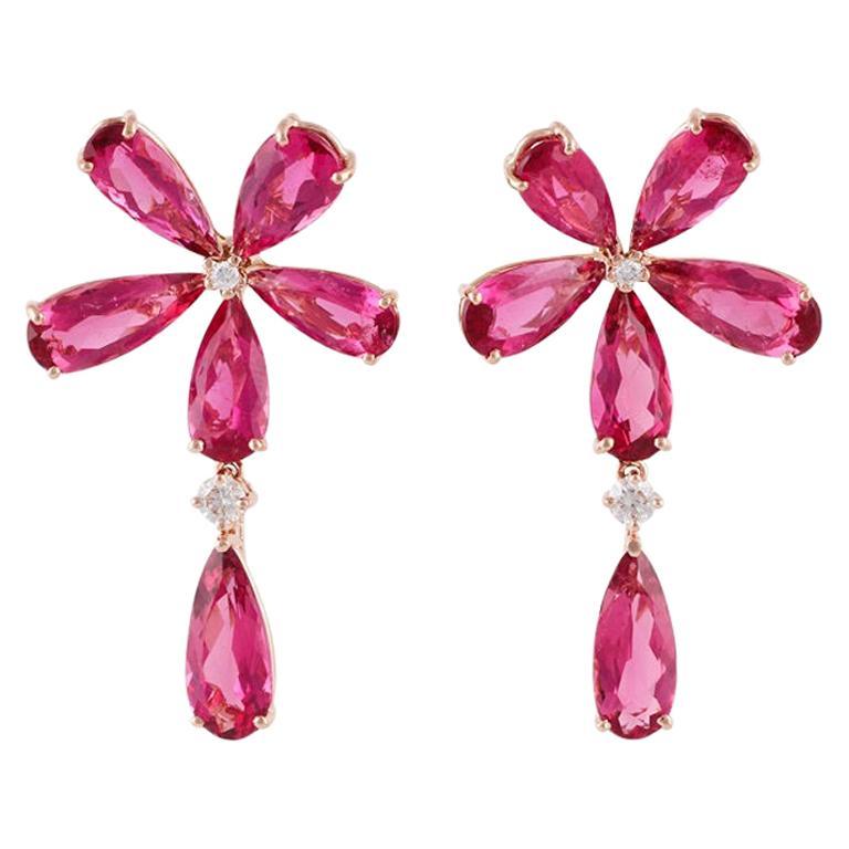 Rubellite and Diamond Earrings Studded in 18 Karat Rose Gold
