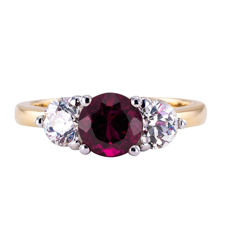 Contemporary Rubellite Diamond Three-Stone Gold Ring For Sale