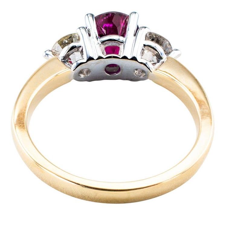 Women's Rubellite Diamond Three-Stone Gold Ring For Sale