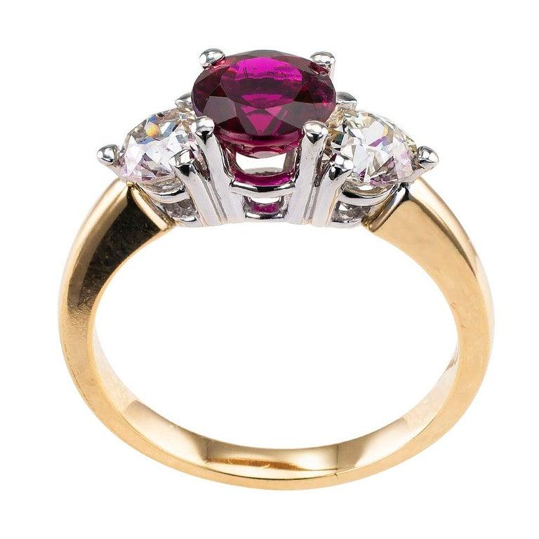 Rubellite Diamond Three-Stone Gold Ring For Sale 1