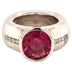 Rubellite Diamond White Gold Ring