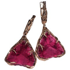 Rubellite Earrings Gold Natural Red Pink Tourmaline Slice Gemstone 14K Gold Art