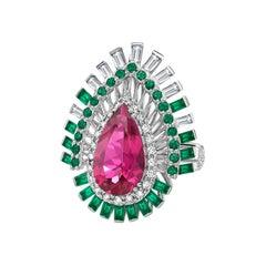 Rubellite, Emeralds and Diamonds Ring