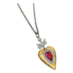 Rubellite Love 22k Gold Locket with Diamonds
