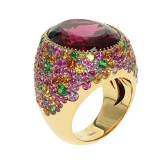 Rubellite Multi-Color Sapphire 18 Karat Yellow Gold Cocktail Ring