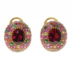 Rubellite Multi-Color Sapphire 18 Karat Yellow Gold Earring
