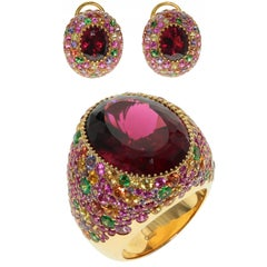 Rubellite Multi-Color Sapphire 18 Karat Yellow Gold Ring Earrings Suite