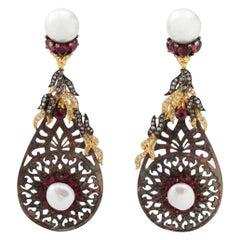 Rubellite Pearl Carved Shell Dangle Drop Earring