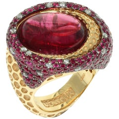 Rubellite Ruby Diamond 18 Karat Yellow Gold Honeycombs Ring