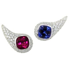 Rubellite Tanzanite Diamond Pavé 18 Karat White Gold Earrings