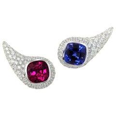 Rubellite Tanzanite Diamond Pavé 18 Karat White Gold Earrings