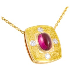 Rubellite Tourmaline 18 kt Gold and Diamond Necklace