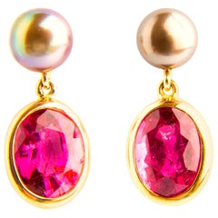 Rubellite Tourmaline 5.56 Carat Tahiti Pearls Yellow Gold 18 Karat Drop Earrings
