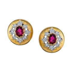 Rubellite Tourmaline and Diamond 18 Karat Yellow Gold Earrings