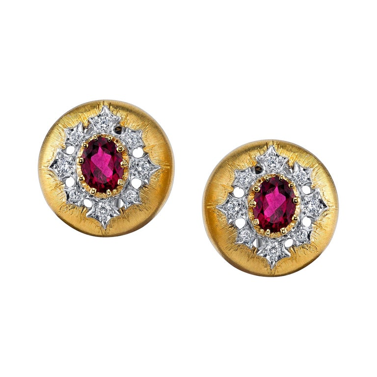 Rubellite Tourmaline and Diamond 18 Karat Yellow Gold Earrings For Sale