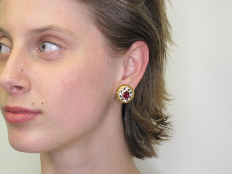 Rubellite Tourmaline and Diamond 18 Karat Yellow Gold Earrings In New Condition For Sale In Los Angeles, CA