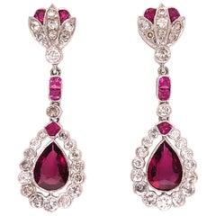 Rubellite Tourmaline and Diamond Deco Style Drop Earrings Fine Estate Jewelry