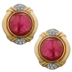 Rubellite Tourmaline and Diamond Earrings