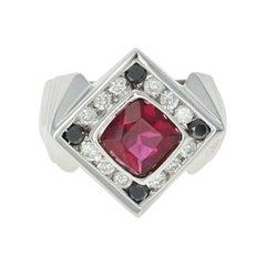 Rubellite Tourmaline and Diamond Ring, 14 Karat Gold Halo Women's 4.90 Carat