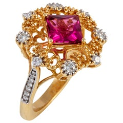 Rubellite Tourmaline and Diamond Ring set in 18 kt Gold