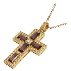 Rubellite Tourmaline Baguettes and Diamond Gold Cross, Italy