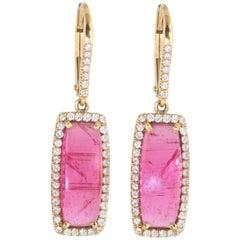 Ico & the Bird Fine Jewelry Tourmaline Cabochon Diamond 18 Karat Gold Earrings