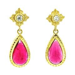 Rubellite Tourmaline Cabochon & Diamond Yellow Gold Bezel Dangle Drop Earrings
