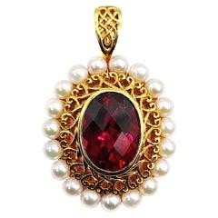 Rubellite Tourmaline, Cultured Pearl, 18 Karat Gold Enhancer-Pendant