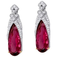 Rubellite Tourmaline Diamond and White Gold Statement Earrings