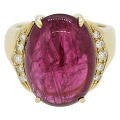 Rubellite Tourmaline Diamond Gold Cocktail Ring