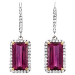 Rubellite Tourmaline Earrings 6.02 Carat Emerald Cut