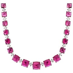 Rubellite Tourmaline Diamond Platinum Necklace 92.96 Carats