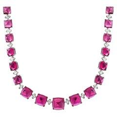 Rubellite Tourmaline Diamond Platinum Necklace 92.96 Carats