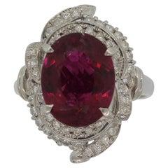 Rubellite Tourmaline Diamond Platinum Ring