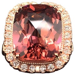 Rubellite Tourmaline Diamond Ring 14k Rose Gold 9.01 TCW Certified