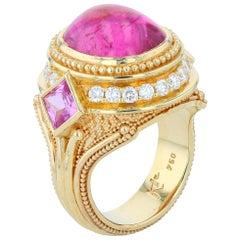 Rubellite Tourmaline, Diamond, Sapphire and 18 Karat Granulation Cocktail Ring