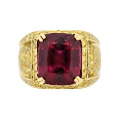 Rubellite Tourmaline Fancy-Yellow Diamond Gold Cocktail Ring