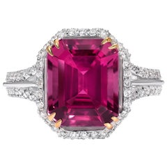 Pink Tourmaline Ring Diamond Gold Emerald Cut Cocktail Rubellite Ring