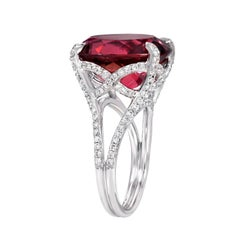 Rubellite Tourmaline Ring Diamond White Gold Cocktail Ring 11.90 Carats