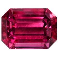 Rubellite Tourmaline Ring Gem 17.26 Carat Emerald Cut Loose Unset Gemstone
