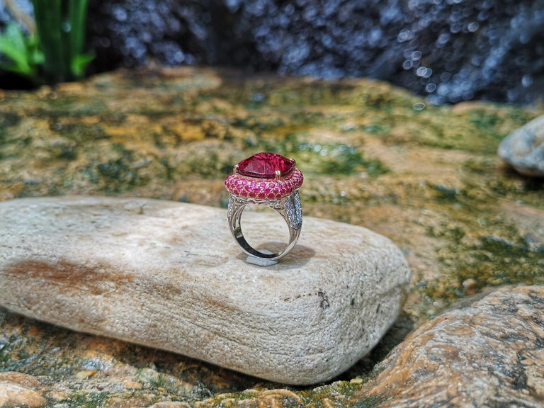 Rubellite with Ruby and Diamond Ring Set in 18 Karat White Gold Settings For Sale 4