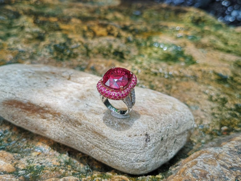 Rubellite with Ruby and Diamond Ring Set in 18 Karat White Gold Settings For Sale 5