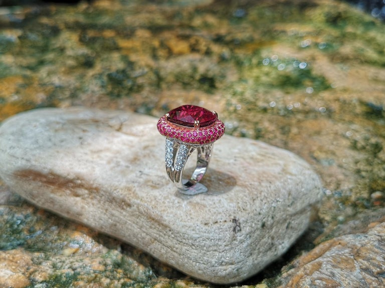 Rubellite with Ruby and Diamond Ring Set in 18 Karat White Gold Settings For Sale 7