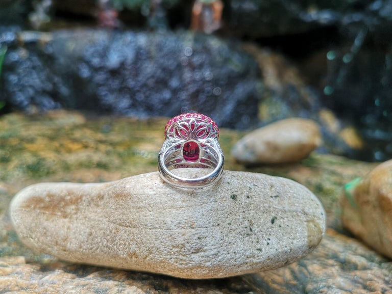 Rubellite with Ruby and Diamond Ring Set in 18 Karat White Gold Settings For Sale 8