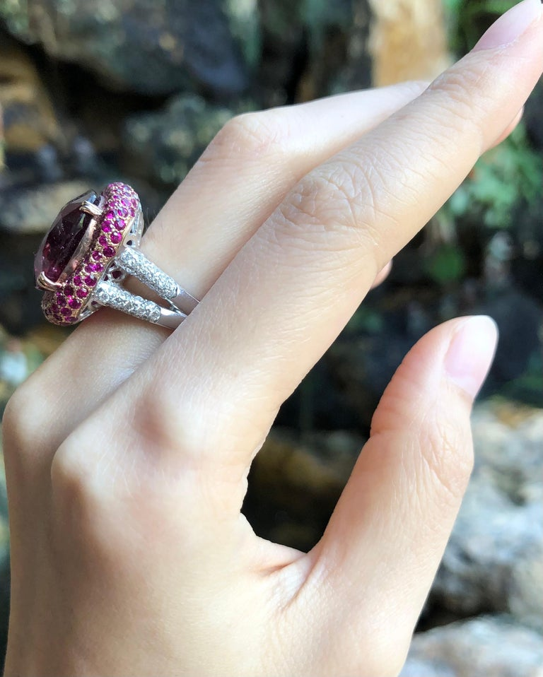 Contemporary Rubellite with Ruby and Diamond Ring Set in 18 Karat White Gold Settings For Sale