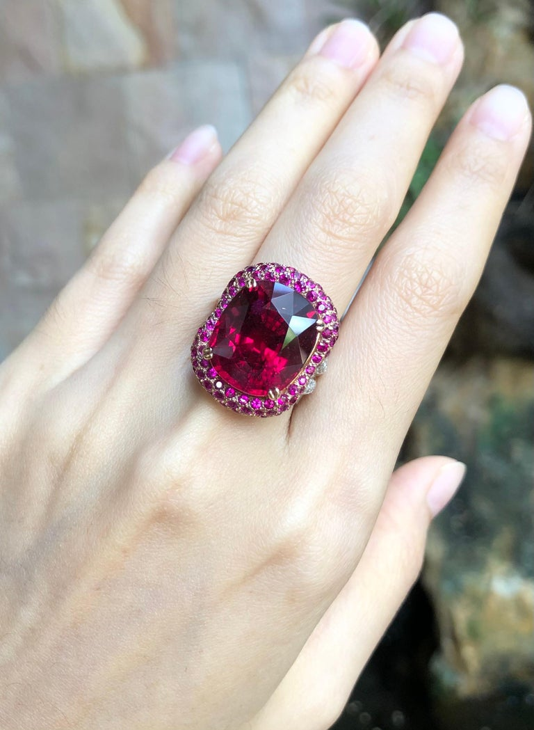 Women's or Men's Rubellite with Ruby and Diamond Ring Set in 18 Karat White Gold Settings For Sale