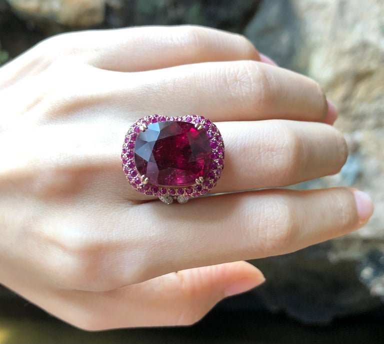 Rubellite with Ruby and Diamond Ring Set in 18 Karat White Gold Settings For Sale 1